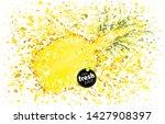 half pineapple with a splash of ...   Shutterstock .eps vector #1427908397