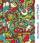 seamless hipster doodle monster ... | Shutterstock .eps vector #142791829