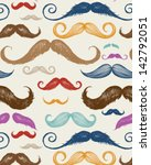 vintage mustache seamless... | Shutterstock .eps vector #142792051