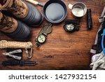 outdoor travel equipment... | Shutterstock . vector #1427932154