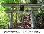 Stock photo shinto shrine gate torii of mitsumine jinja shrine okumiya at the top of myohogatake mountain 1427944457
