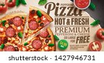 pepperoni pizza ads with... | Shutterstock .eps vector #1427946731