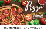 pepperoni pizza ads with... | Shutterstock .eps vector #1427946737