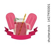 glass with cherry and straw... | Shutterstock .eps vector #1427950301