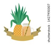 glass with pineapple and straw... | Shutterstock .eps vector #1427950307