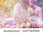 smiling young blond woman and... | Shutterstock . vector #1427965904