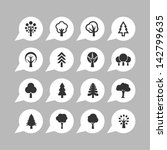 botany symbols. tree icon set.