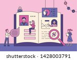 people who open a giant book... | Shutterstock .eps vector #1428003791