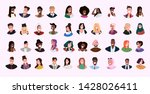 set mix race women men face... | Shutterstock .eps vector #1428026411
