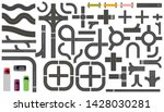 set of road parts with dashed... | Shutterstock .eps vector #1428030281