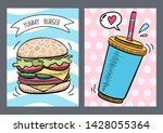 vector fast food in hand drawn... | Shutterstock .eps vector #1428055364