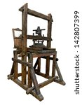 Small photo of Old wooden printing press. Clipping path included.