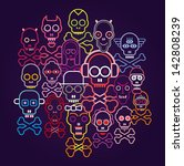colorful skulls and crossbones  ... | Shutterstock .eps vector #142808239