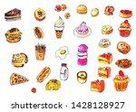 set of foods and bakery doodles ... | Shutterstock . vector #1428128927
