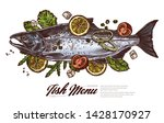 top view raw salmon. fish meat... | Shutterstock .eps vector #1428170927