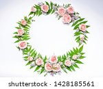 wedding round frame of flowers  ... | Shutterstock . vector #1428185561