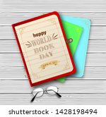 world book day with stack of... | Shutterstock .eps vector #1428198494