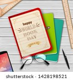 world book day with stack of... | Shutterstock .eps vector #1428198521