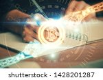 cryptocurrency hologram over... | Shutterstock . vector #1428201287