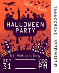 halloween leaflet with pumpkins ... | Shutterstock .eps vector #1428224441