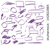 Set of many hand-drawn arrows isolated , vector highlighter elements