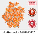 Electrical lamp mosaic Zhejiang Province map and rubber round stamp seals. Mosaic vector Zhejiang Province map is composed with electrical lamp symbols. Templates for patent business.