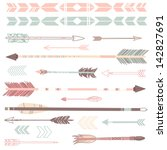a set of cute hipster arrows ... | Shutterstock .eps vector #142827691