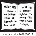 our policy   retro ad art... | Shutterstock .eps vector #1428288017