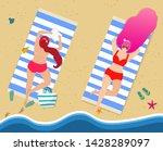 young girls in red swimwear... | Shutterstock . vector #1428289097