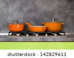pots and pan on the stove  ... | Shutterstock . vector #142829611
