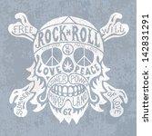 hippie skull | Shutterstock .eps vector #142831291