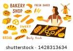 Bakery Shop Funny Doodle Set....