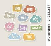 vector retro speech bubbles... | Shutterstock .eps vector #142831657