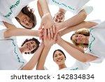 cheerful group of volunteers... | Shutterstock . vector #142834834