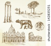 italy  rome   drawing | Shutterstock .eps vector #142835251