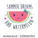 hand drawing watermelon vector... | Shutterstock .eps vector #1428361901