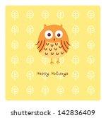 happy owl holidays | Shutterstock .eps vector #142836409