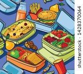 seamless food pattern on blue... | Shutterstock .eps vector #1428370064
