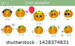set of ten cute kawaii pumpkin... | Shutterstock .eps vector #1428374831
