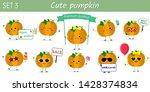 set of ten cute kawaii pumpkin... | Shutterstock .eps vector #1428374834