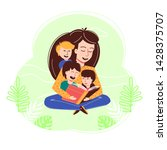 happy smiling woman reading... | Shutterstock .eps vector #1428375707