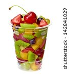 Fruit Salad In Takeaway Cup On...