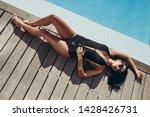 top view of woman in bikini...   Shutterstock . vector #1428426731