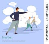 flat team successful leader.... | Shutterstock .eps vector #1428443381
