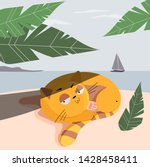 illustrated cats on the beach.... | Shutterstock .eps vector #1428458411