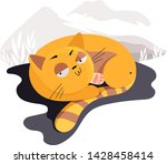 illustrated cats in nature.... | Shutterstock .eps vector #1428458414