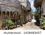 Chios Island, Greece - May,2019: Mesta village street view in Chios Island, Greece. The village of Mesta is the most distant of the medieval villages.