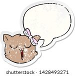 cartoon cat face with speech... | Shutterstock .eps vector #1428493271