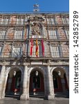 Small photo of MADRID - MARCH 9: Facade of Casa de la Panderia from Plaza Mayor in morning light in March 9, 2013 in Spain.