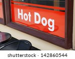 text with hot dog on a bistro... | Shutterstock . vector #142860544